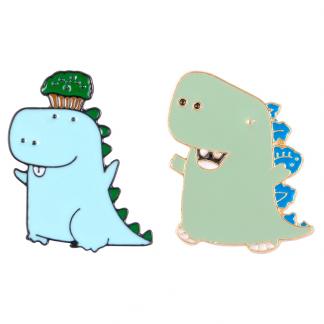 Dino with cupcake Enamel Pin