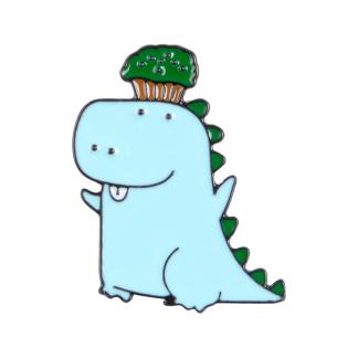 Dino with cupcake Enamel Pin Black Edge