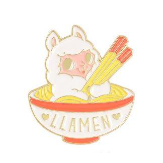 """Kawaii Enamel Pin """"Llamen (Llama and Ramen)"""""""