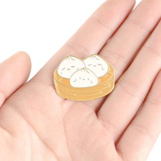 Kawaii Steamed Baozi Dumplings Enamel Pins Hand