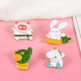 """Emaille Anstecker """"Tierparty"""" Animal Party Unicorn Rabbit Pig Cat Enamel Pin"""