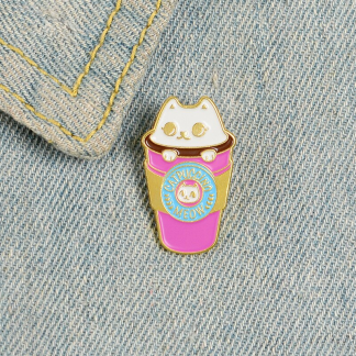 """Emaille Anstecker """"Cat Cup"""" Cat Coffee Enamel Pin"""