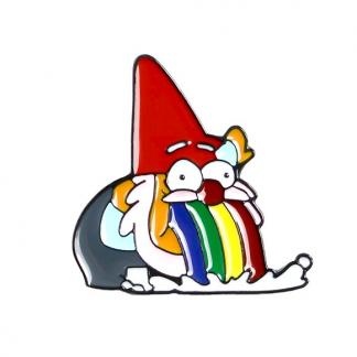 "Emaille Anstecker ""Rainbow Gnome"" Rainbow Spucking Dwarf Enamel Pin"