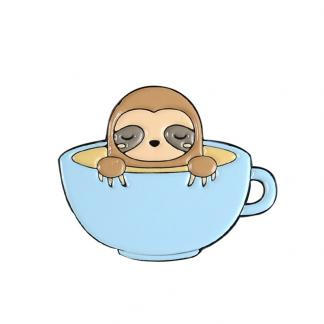 "Emaille Anstecker ""Cup Bath Sloth"" Sloth Enamel Pin Kawaii Shop"