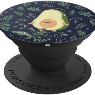 monkimonk Süße Avocado Naturliebhaber mit Blumen & Blättern - PopSockets Ausziehbarer Sockel und Griff für Smartphones und Tablets
