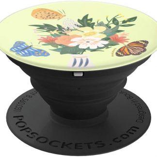 monkimonk Gelassene Schmetterlinge mit Blumen - PopSockets Ausziehbarer Sockel und Griff für Smartphones und Tablets