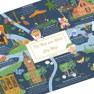 der Weg zum Glück, Achtsamkeit, Dankbarkeit, Im Hier und Jetzt, süße Illustration,monkimonk City Map, Geschenk
